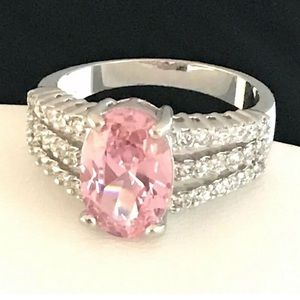 Designer Ring Pink Solitaire Accents Cocktail 3d